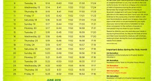 1440 Ramadhan Calendar – Shabaan Quiz