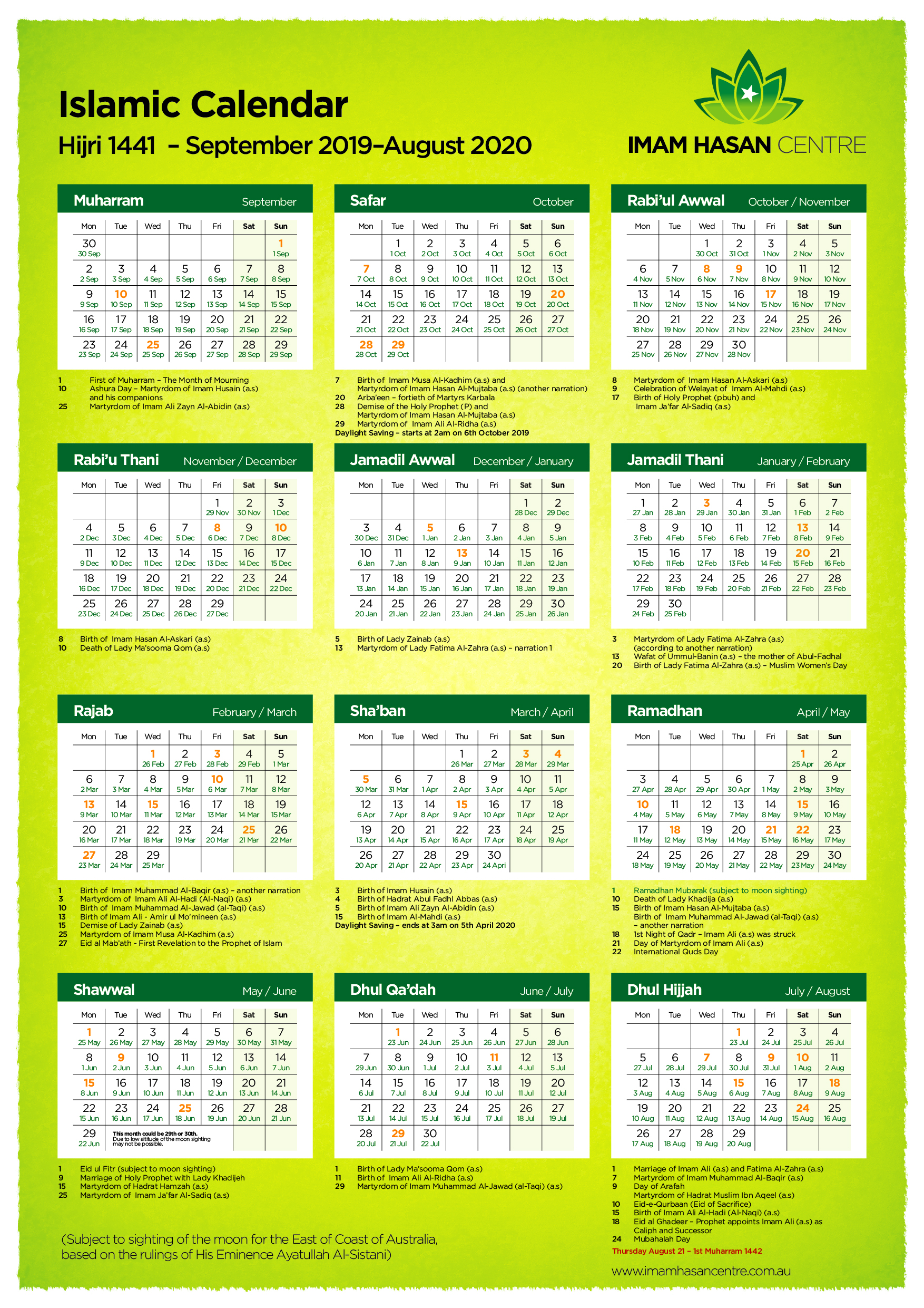 1441 Hijri Islamic Calendar – September 2019 – August 2020 | Imam Hasan  Centre