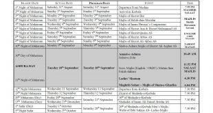 Muharrum 1441 – IHC CALENDAR – Sheikh Hasnain Govani & TEJANI BROTHERS