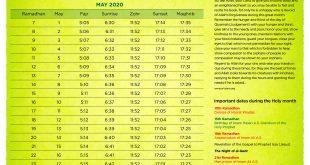 Ramadhan 1441 – Calendar