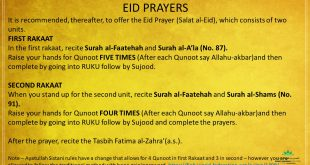 How to pray Eid Prayers – EID is expected to be Monday 25th May for Ayatullah Sistani Followers